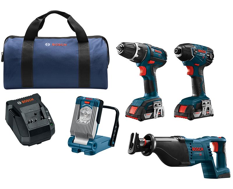 4 Tool Combo Kit W/ Impact Driver + Drill Driver + Recip Saw + Flashlight