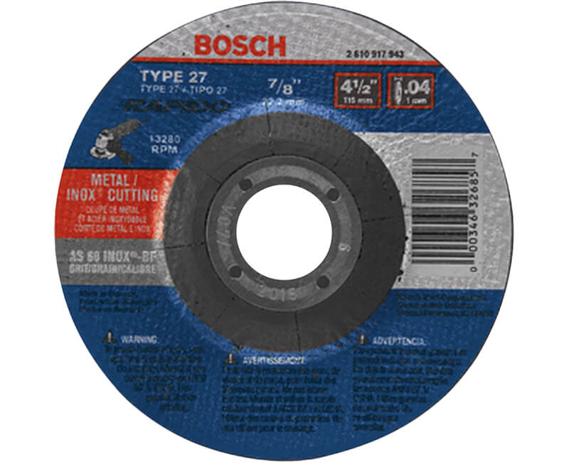 "4-1/2"" x .040 x 7/8"" Metal/ Stainless Steel Thin Cutting Wheel Type 27A"