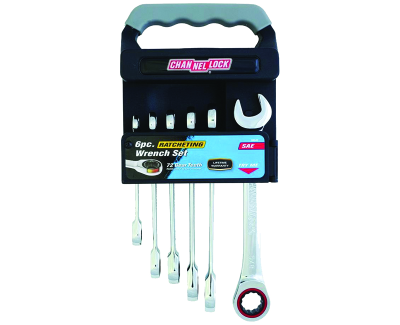 Ratcheting Wrench SAE Set W/ Rack - 6 Pieces