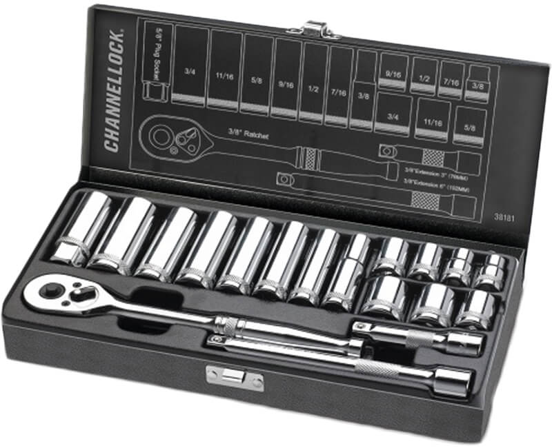 "3/8"" Driver SAE Set Metal Box - 18 Pieces"