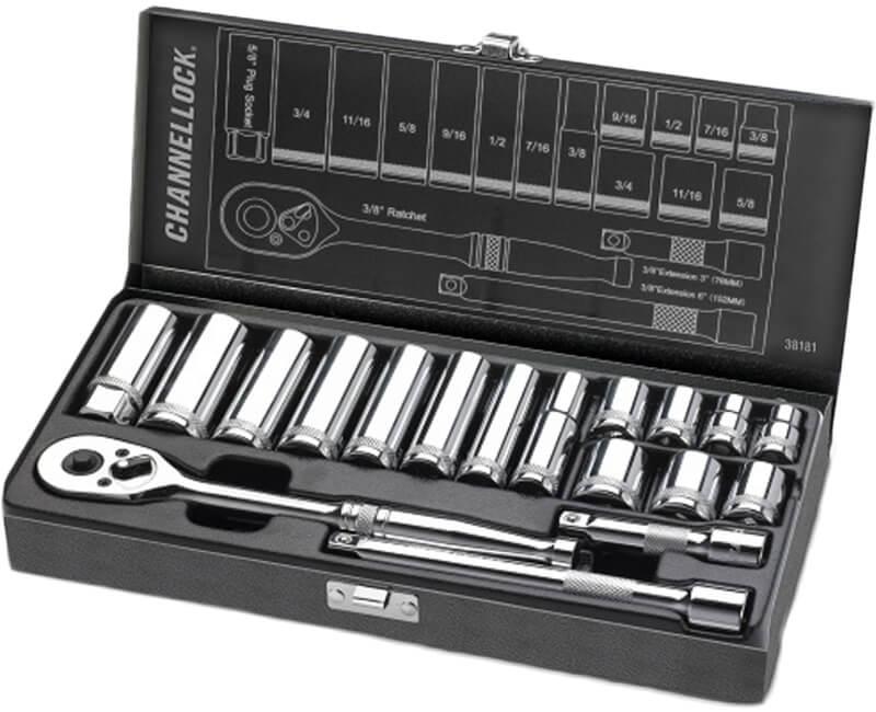 "3/8"" Driver SAE Set Metal Box - 18 Pieces"