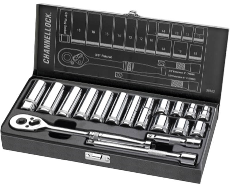"3/8"" Driver Metric Set Metal Box - 18 Pieces"