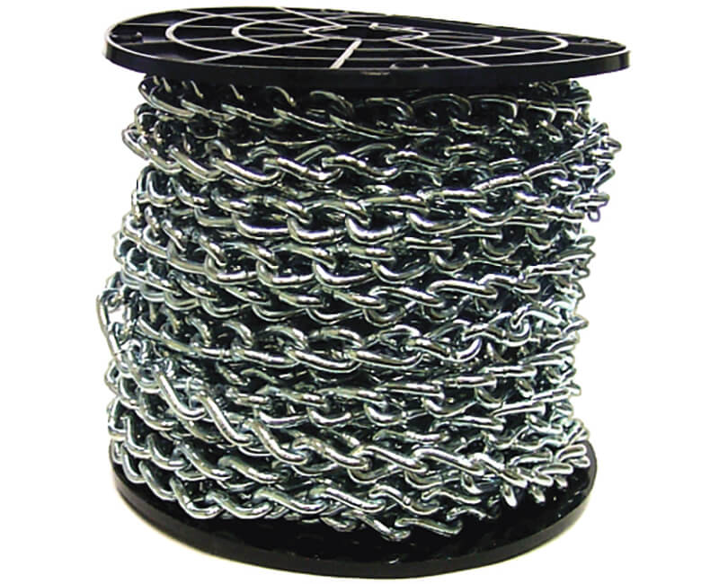 2/0 Zinc Plated Twist Link Machine Chain - 75' Reel