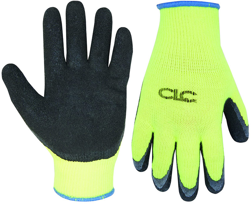 HI VIS COLD WEATHER LATEX GRIPPER GLOVE LARGE