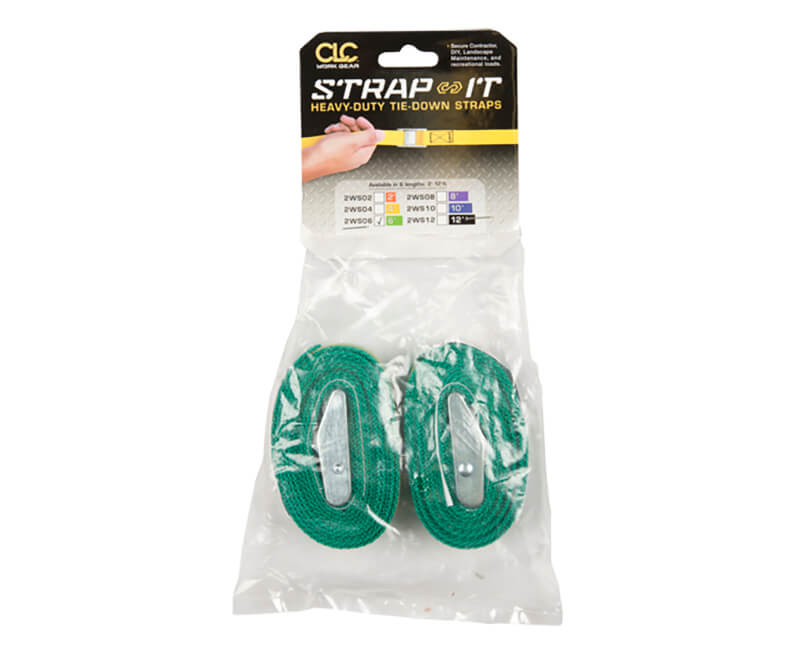 6' Green Web Tie Down Straps - 2 Per Pack