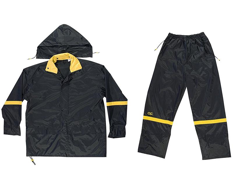 3 Piece Black Nylon Rain Suit - Large