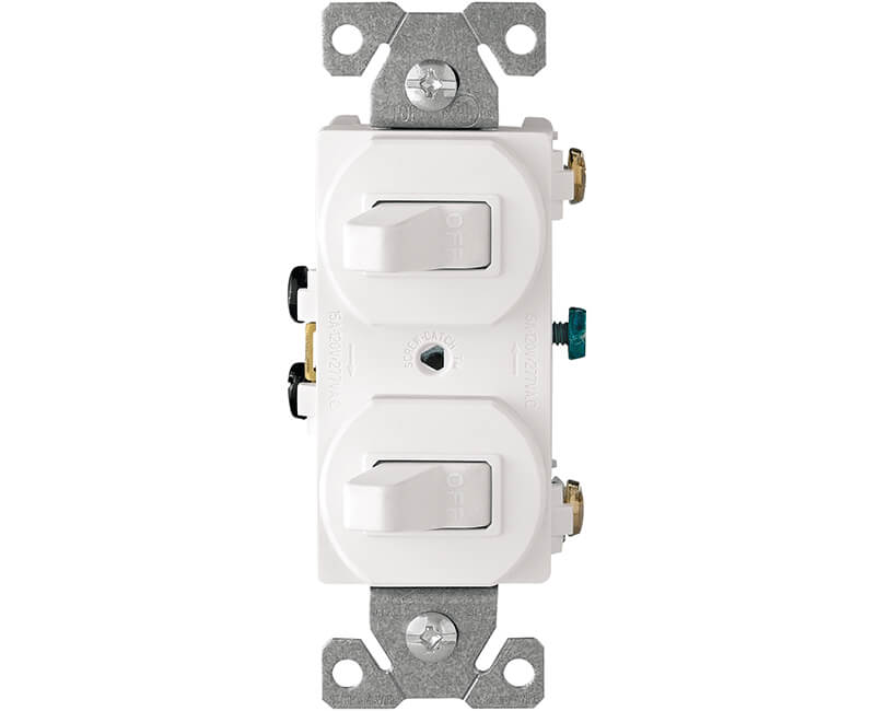 15 AMP Two Single Pole Switches - White Boxed