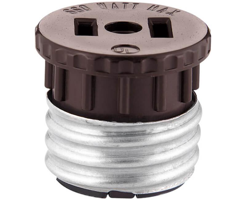 Socket To Plug Base Adapter - Brown Bulk
