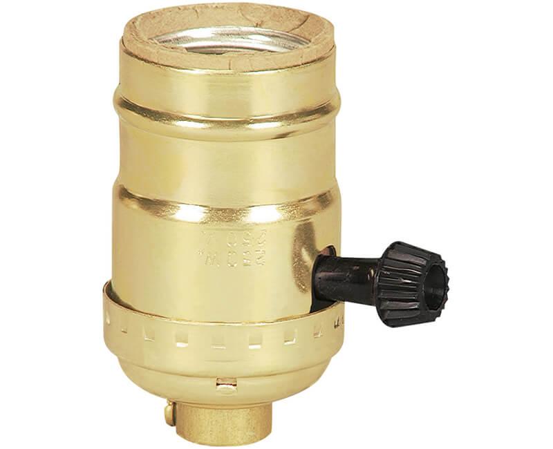 Turn Knob Brass Shell Lamp Socket - Bulk