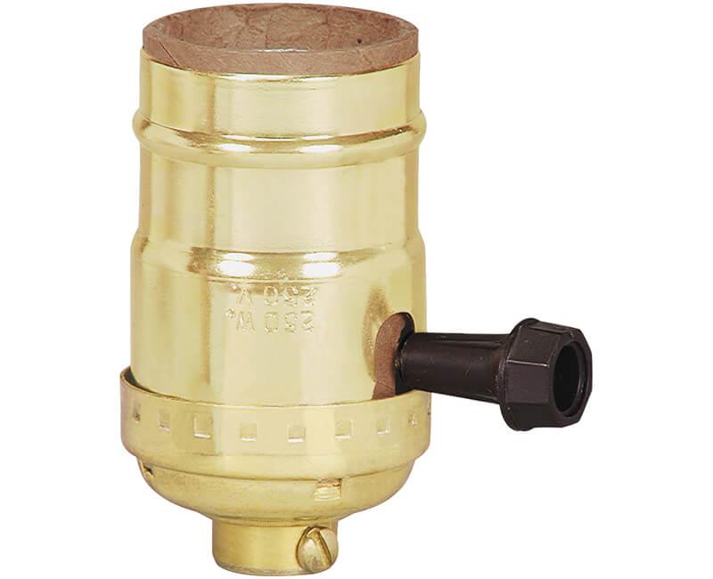 3 Way Turn Knob Brass Shell Lamp Socket - Bulk