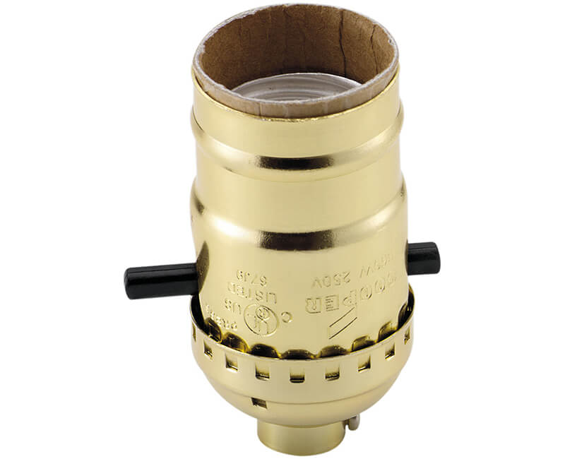 Push Thru Brass Shell Lamp Socket - Bulk