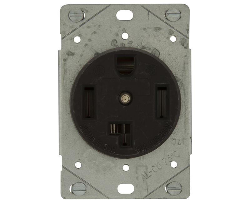 Recp Single Flush 3P 4W - 30A Black