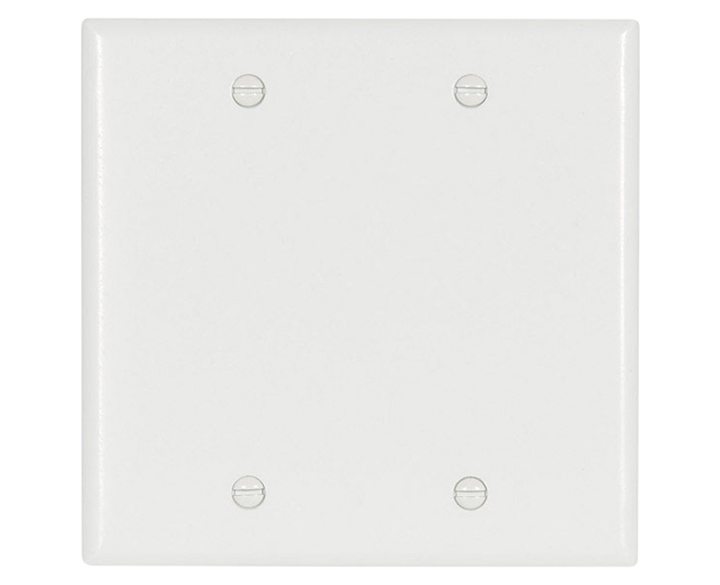 Two Gang Blank Thermoset Standard Wallplate - White