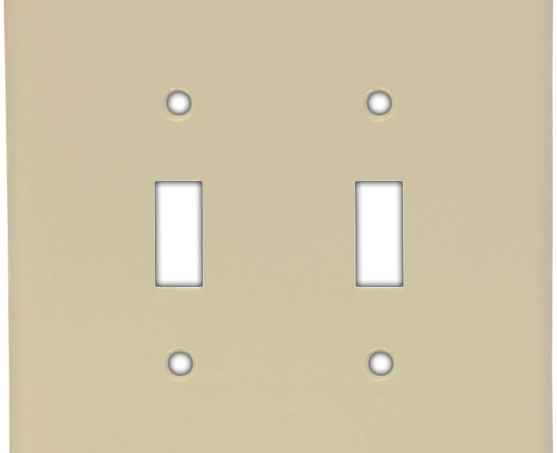 Two Gang Toggle Switch Plate - Ivory Bulk