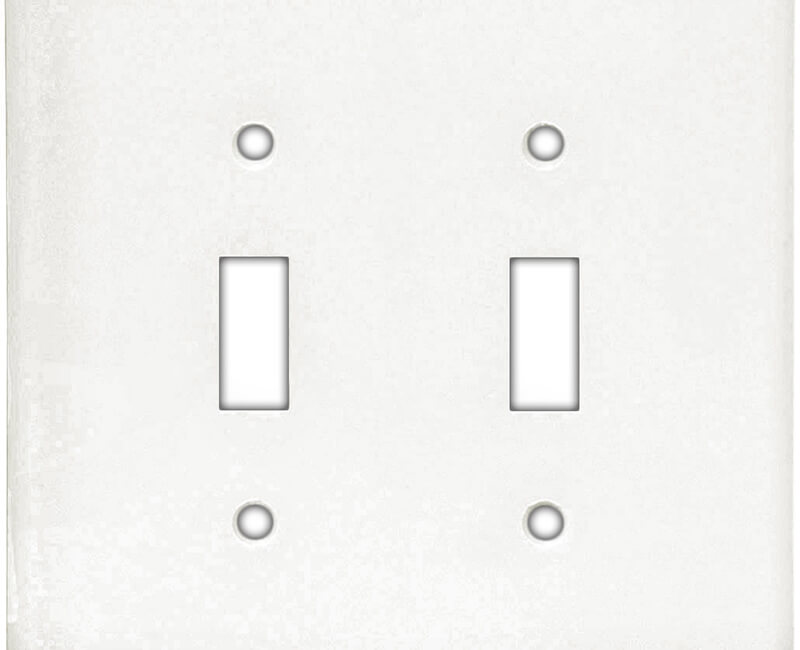 Two Gang Toggle Switch Plate - White Bulk