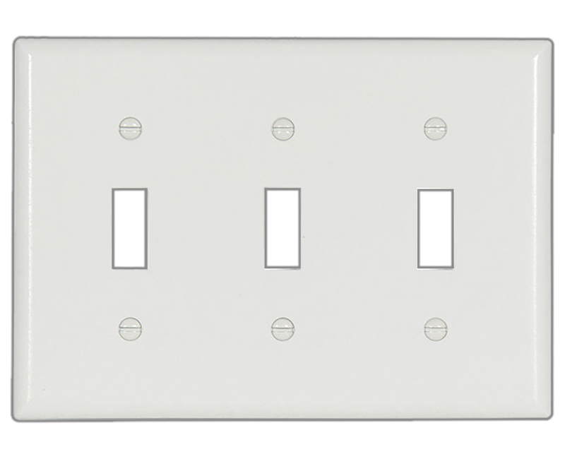 Three Gang Toggle Thermoset Standard Wallplate - White