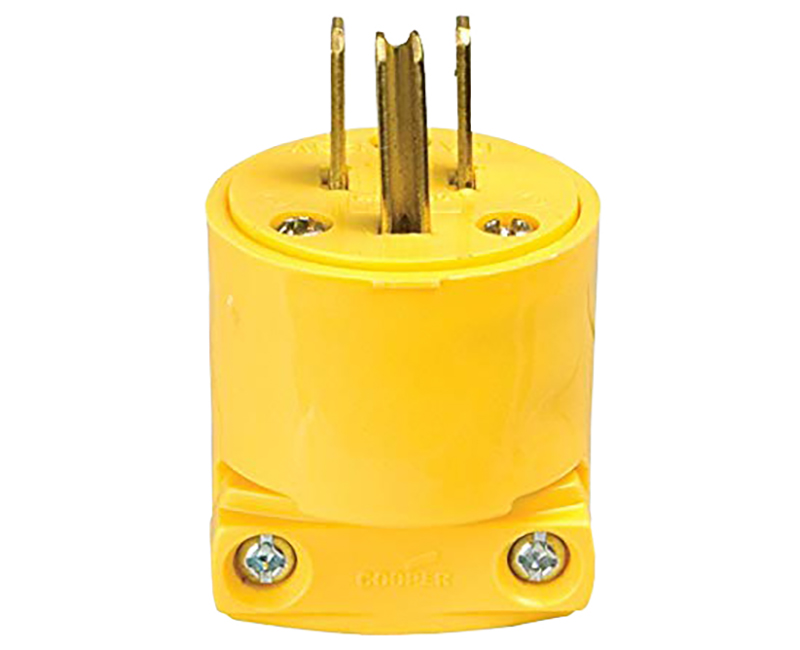 PLUG 15A 125V 2P3W VINYL STRAIGHT YELLOW