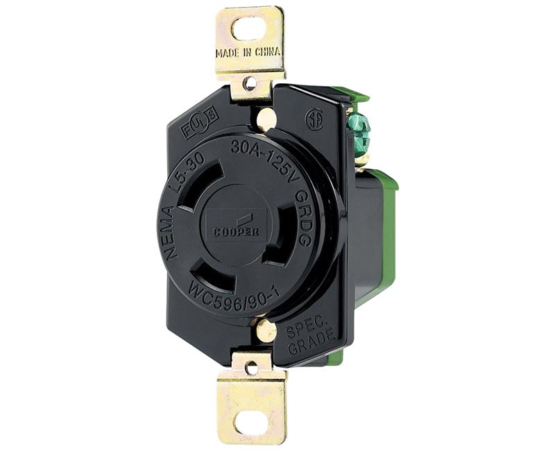 Locking Recp Single 2P 3W - 30A, 125V
