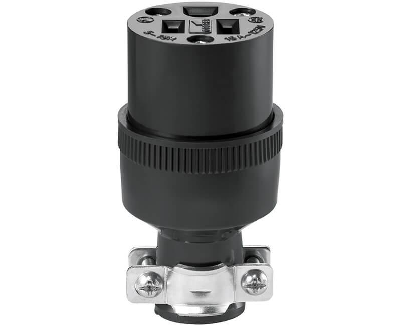 15 AMP 125V Black Rubber Connector - Bulk