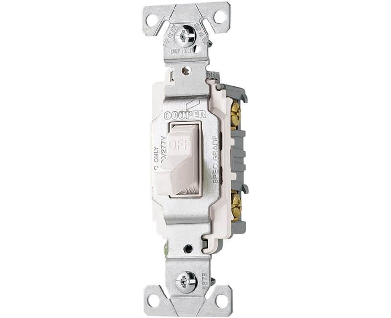 20 AMP Commercial Grade Single Pole Toggle Switch - White