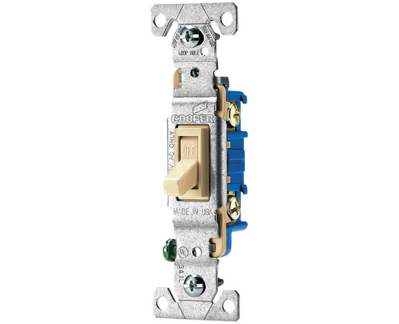 15 AMP 120 Volt Single Pole Switch - Ivory