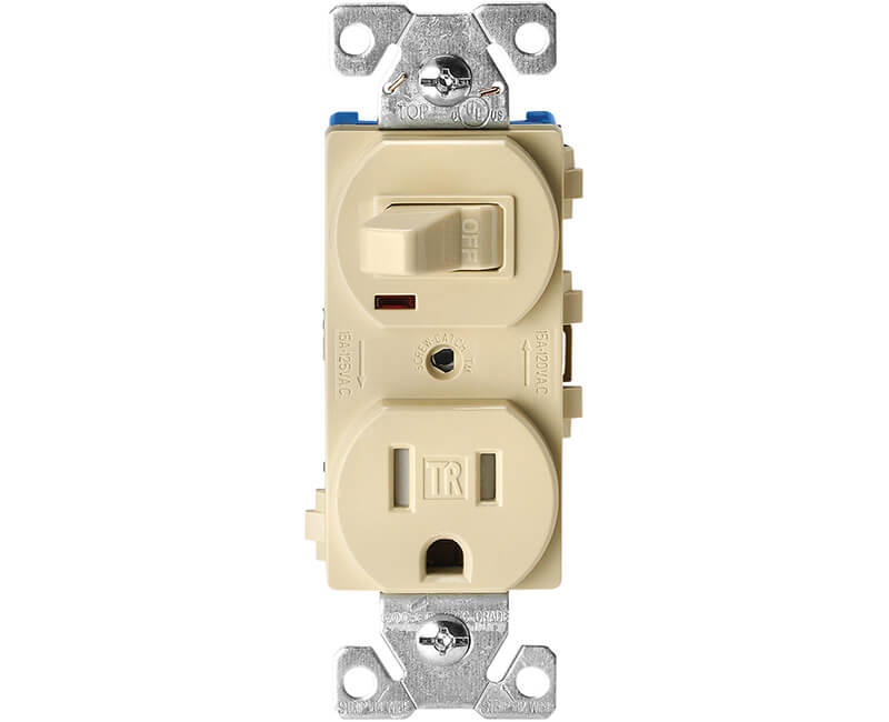 Single Pole Switch With Tamper Resistant Receptacle - Ivory Boxed