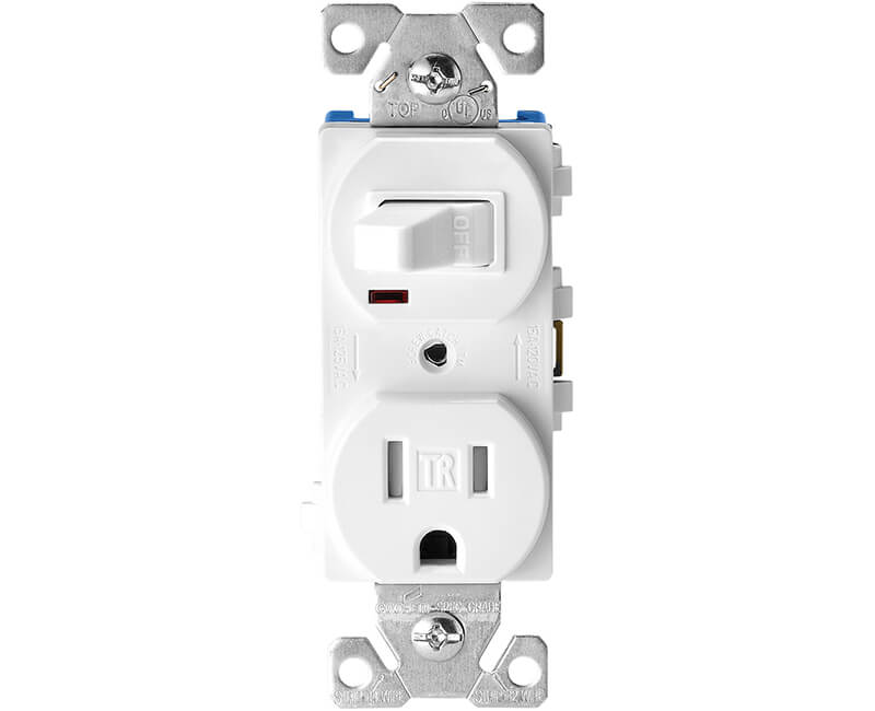 Single Pole Switch With Tamper Resistant Receptacle - White Boxed