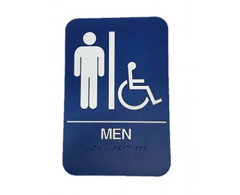 "9"" X 6"" Blue Men's Restroom Sign With Braile"