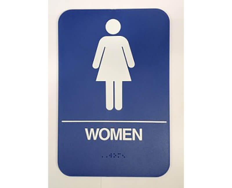 "9"" X 6"" Blue Women's Restroom Sign With Braile"