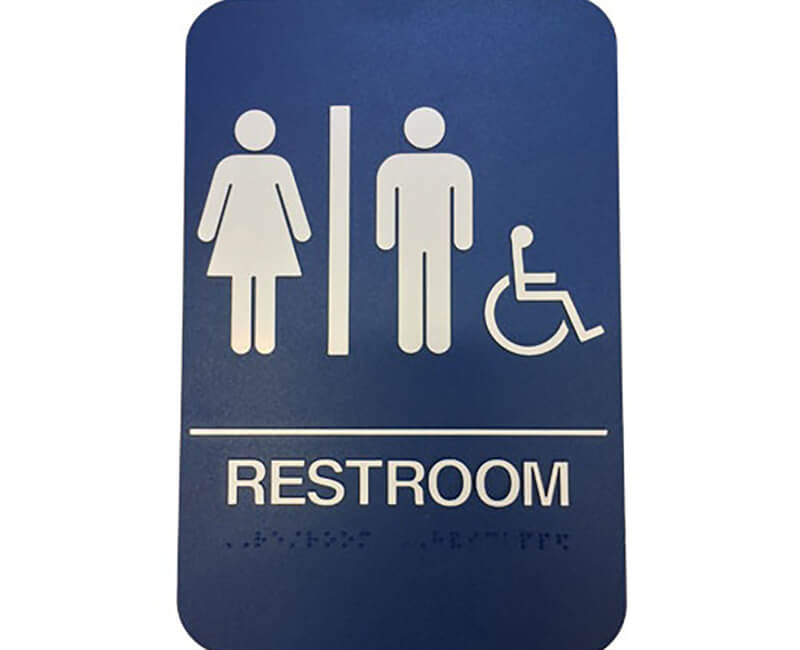 "9"" X 6"" Blue Restroom Sign With Braile"