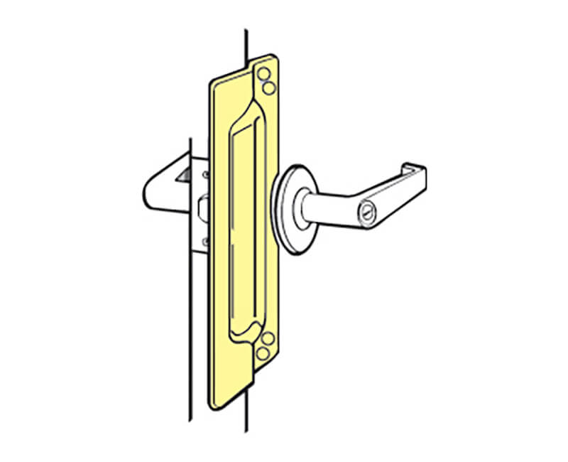 """3"""" X 11"""" Brass Plated Latch Protector For Out-Swinging Door"""
