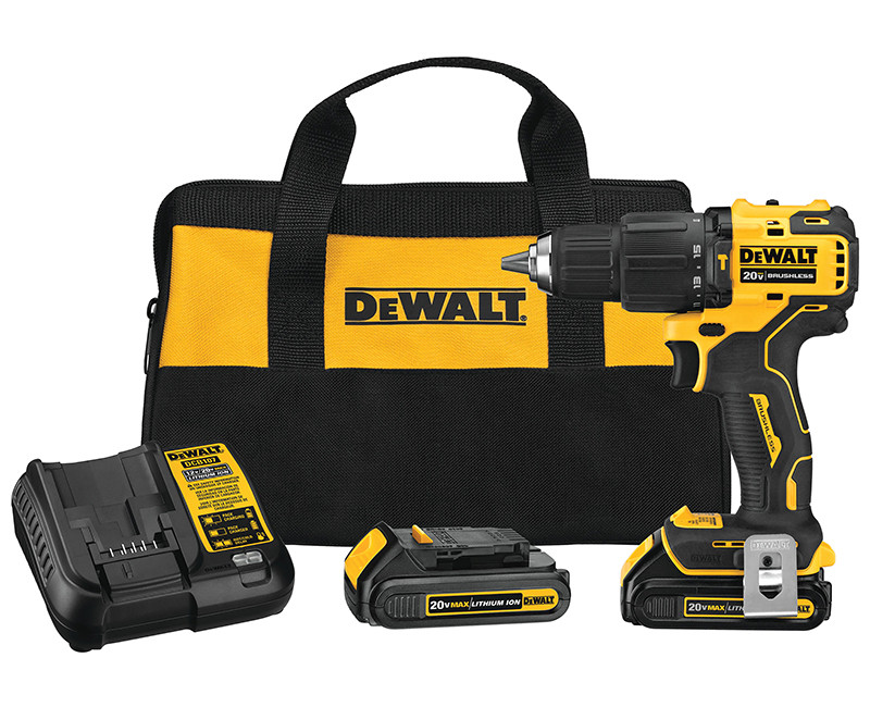 """20V MAX BRUSHLESS COMPACT CORDLESS 1/2"""" HAMMER DRILL DRIVER WITH 2 BATTERIES + CHARGER IN BAG"""