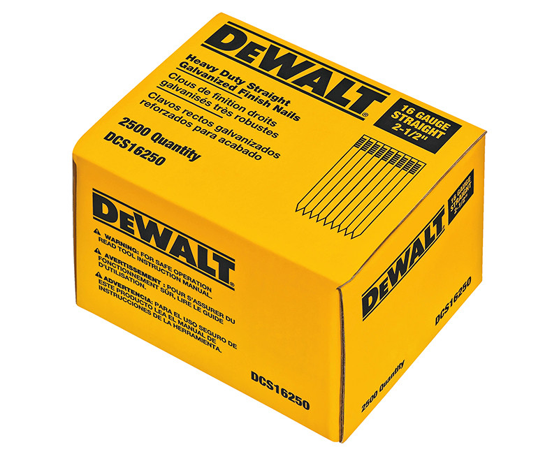 """2-1/2"""" 16 Gauge Straight Finishing Nails - 2500 Count"""