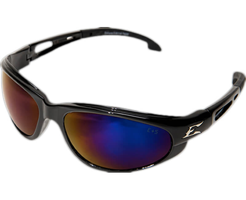 Dakura Non-Polarized Black Safety Glasses - Blue Mirror Lens