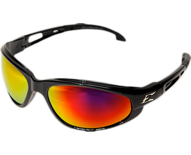 Dakura Non-Polarized Black Safety Glasses - Aqua Precision Red Mirror Lens