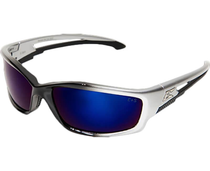 Kazbek Non-Polarized Black Safety Glasses - Blue Mirror Lens