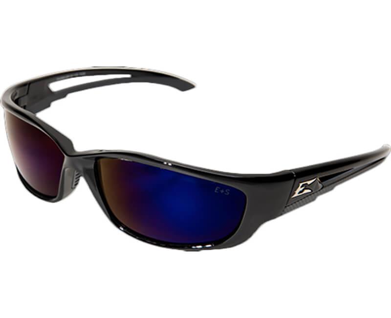 Kazbek XL Non-Polarized Black Safety Glasses - Blue Mirror Lens