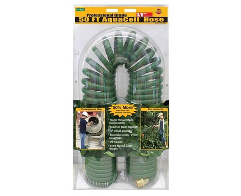 "5/8"" X 50' Aqua Coil Hose With Solid Brass Couplings"