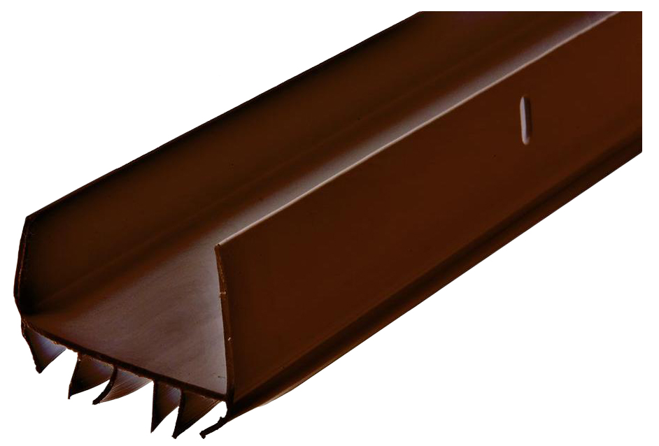 "1-3/4"" Brown U-Shaped Slide-On Vinyl Door Bottom Metal/Wood Doors"