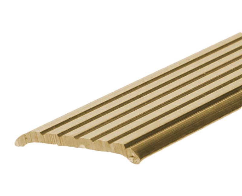 "1-1/4"" X 36"" Fluted Aluminum Seam Binder - Gold Finish"