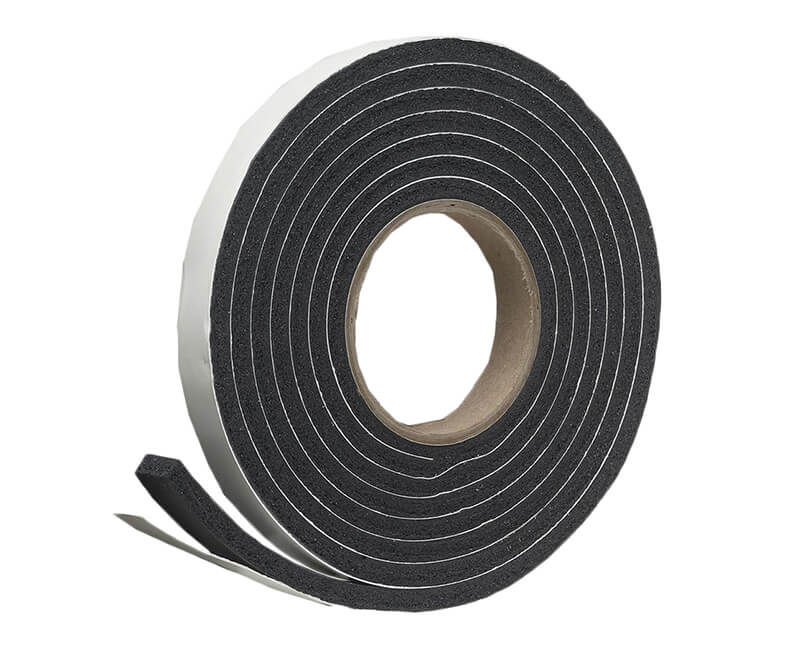 "1"" X 5/16""X 10' Sponge Rubber Tape - Black"