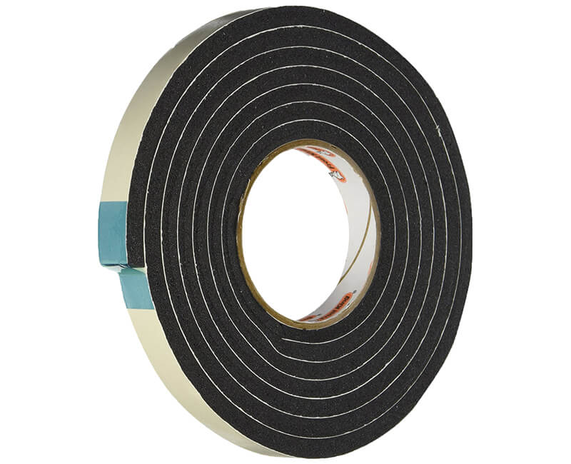 "3/4"" X 5/16"" X 10' Sponge Rubber Tape - Black"
