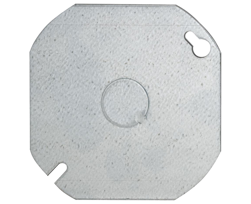 "4"" OCTAGON FLAT COVER BLANK W/ KNOCKOUT"