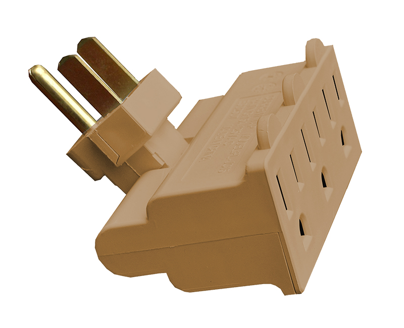 Tan 3 Outlet Polarized Swivel Tap - 15 AMP