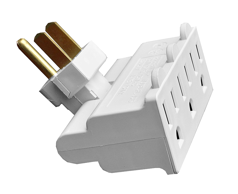 White 3 Outlet Polarized Swivel Tap - 15 AMP