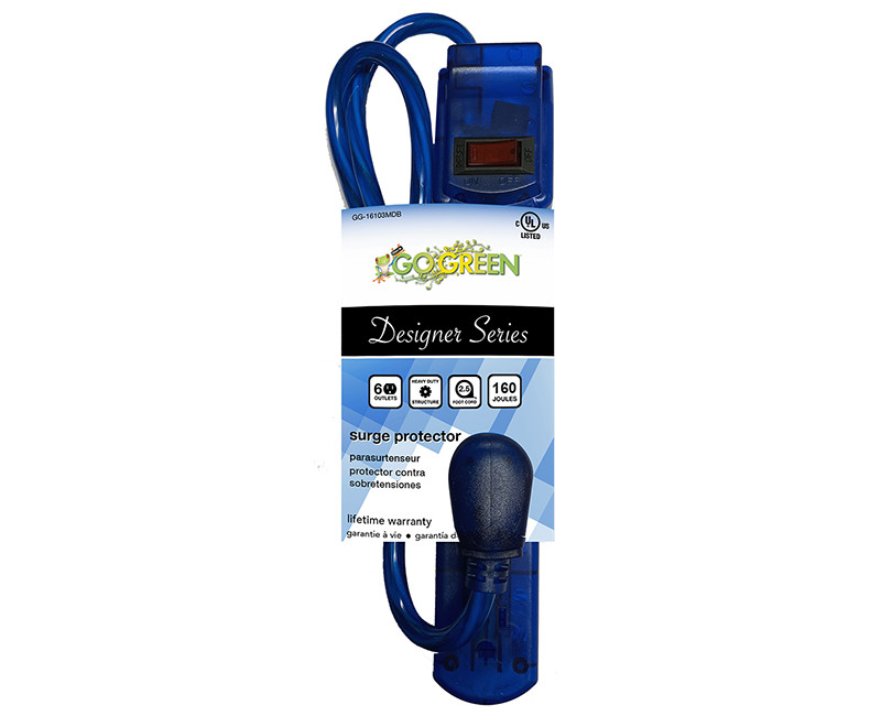 6 OUTLET TRANSLUCENT BLUE SURGE PROTECTOR 250 JOULES 3' CORD 15 AMP CIRCUIT BREAKER