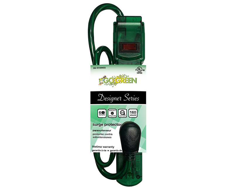 6 OUTLET TRANSLUCENT GREEN SURGE PROTECTOR 250 JOULES 3' CORD 15 AMP CIRCUIT BREAKER