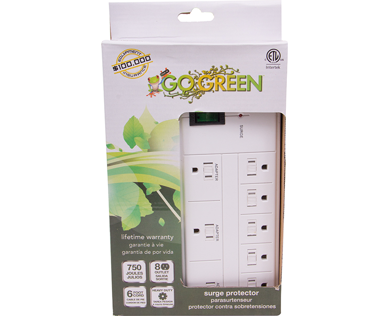 White 8 Outlet Surge Protector - 750 Joules