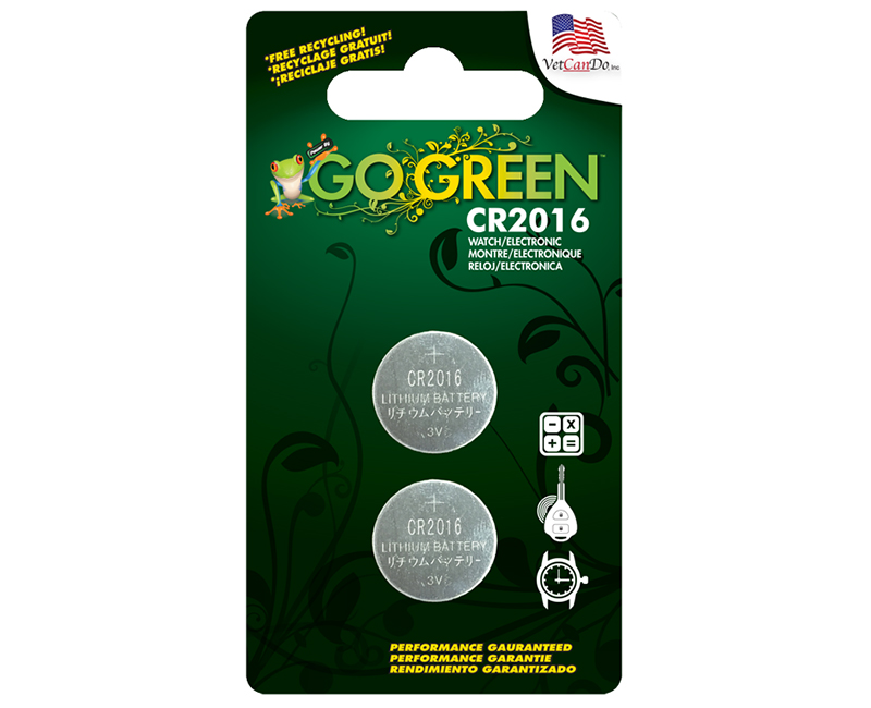 CR2016 3 Volt Button Cell Battery - 2 Per Blister Card
