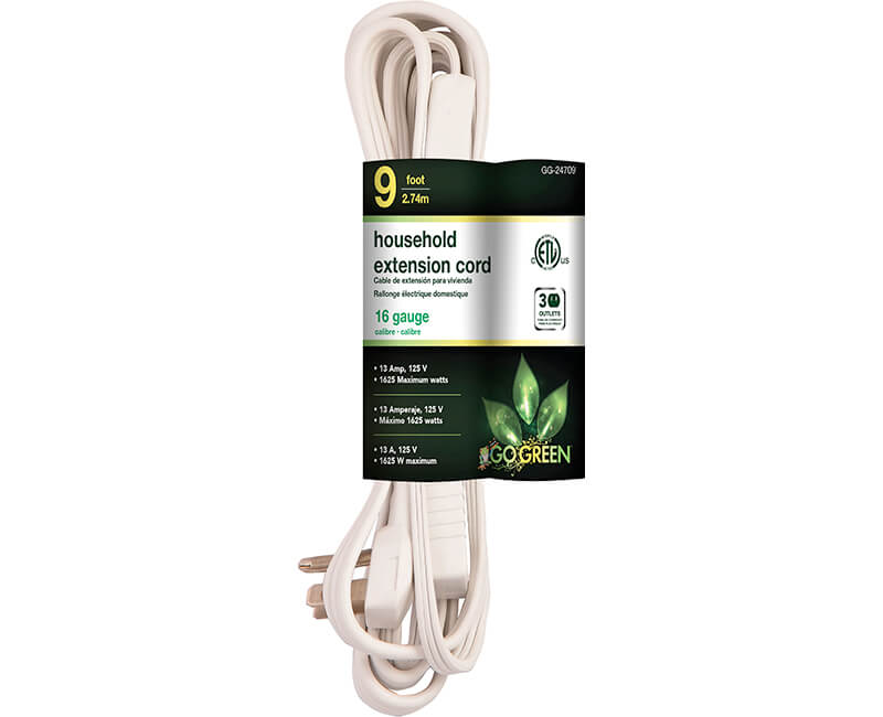 9' 16/2 Gauge Household Extension Cord - White